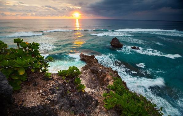Картинка волны, небо, пейзаж, закат, тропики, океан, скалы, отдых, побережье, размытость, Бали, Индонезия, summer, nature, island, …