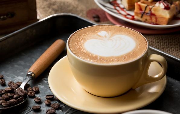 Картинка рисунок, кофе, зерна, чашка, напиток, пенка