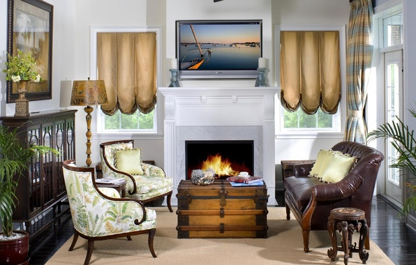 Картинка цветок, цветы, дизайн, стиль, комната, диван, окна, лампа, интерьер, картина, подушки, свечи, телевизор, кресла, камин, …