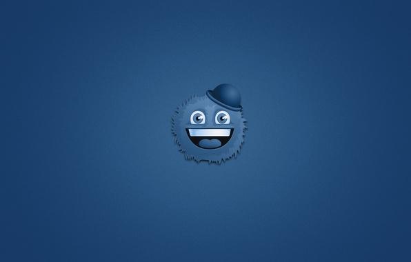 Картинка улыбка, монстр, минимализм, голова, мохнатый, шляпка, monster, синий фон