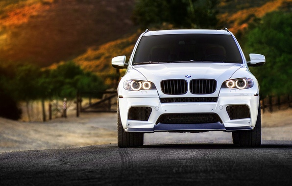 Картинка BMW, white, wheels, tuning, front, X5M