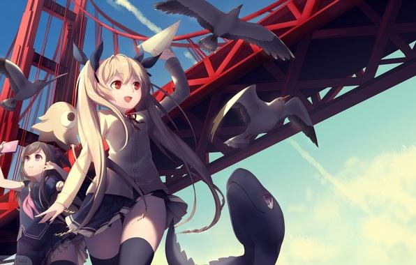 Картинка животные, небо, птицы, мост, улыбка, девушки, аниме, арт, телефон, форма, школьницы, kyuri