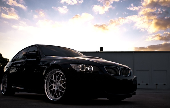 Картинка небо, облака, закат, чёрный, бмв, BMW, black, Sedan, E90