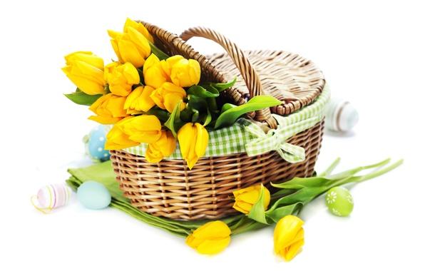 Картинка праздник, яйца, букет, тюльпаны, tulips, Easter, eggs, holiday, bouquet, корзины, basket, tulip, пасхальные