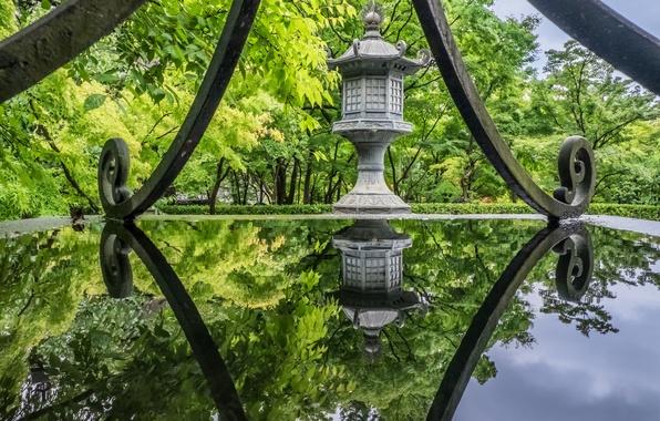 Картинка вода, деревья, парк, отражение, Япония, храм, Japan, Kyoto, Киото, Eikando Temple