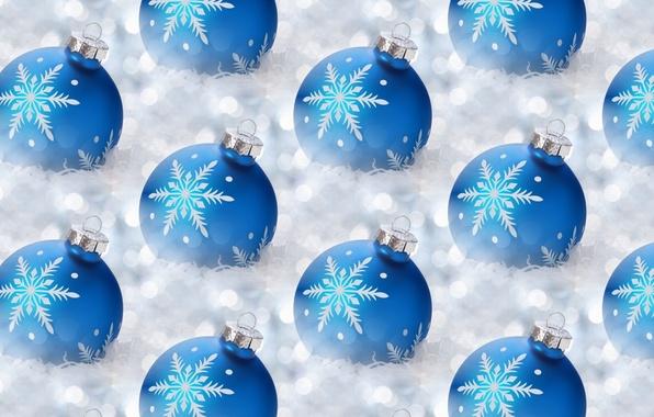 Картинка шарики, снежинки, фон, праздник, текстура, Новый год, мишура, новогодние шары