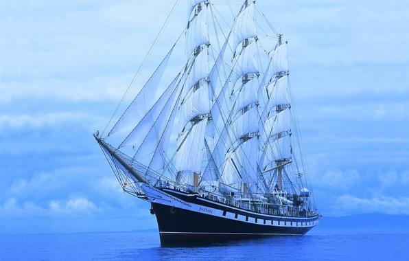 Фото обои Корабль, Паллада, Море, синий, Парусник