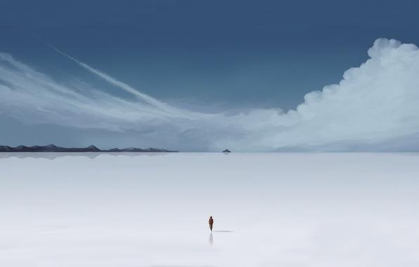Картинка человек, Облака, минимализм