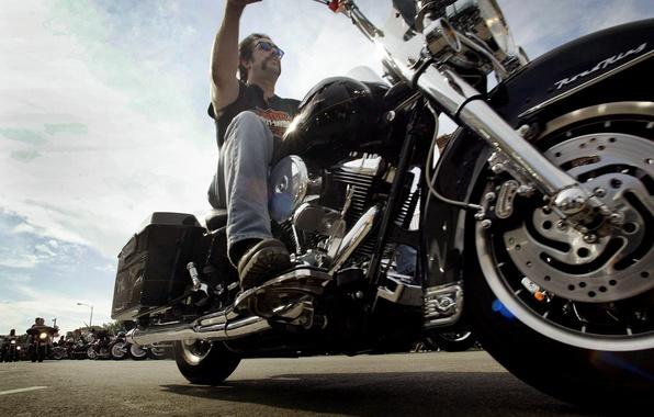 Картинка мотоцикл, байкер, Harley Davidson