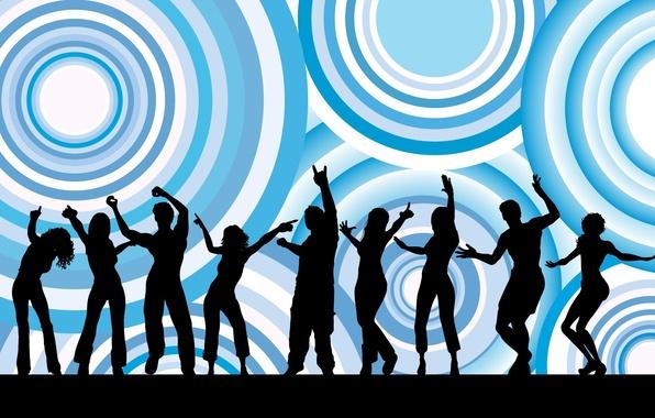 Картинка девушка, круги, фон, люди, голубой, черный, весело, мужчина, танцы, силуэты, dance, текструра