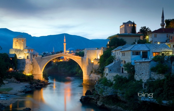 Картинка небо, пейзаж, закат, горы, мост, огни, река, дома, минарет, Босния и Герцеговина, Мостар