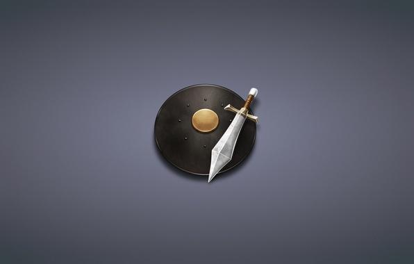 Картинка минимализм, меч, щит, темноватый фон