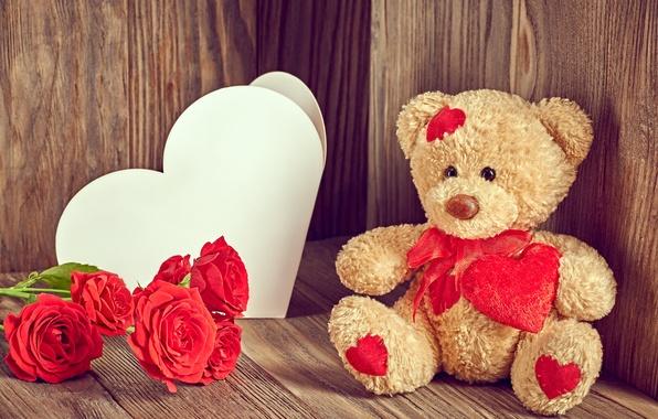 Картинка любовь, цветы, розы, мишка, love, bear, heart, romantic, Valentine's day, roses, Teddy
