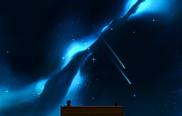 Картинка небо, девушка, звезды, скамейка, ночь, аниме, арт, парень, двое, craft ghost
