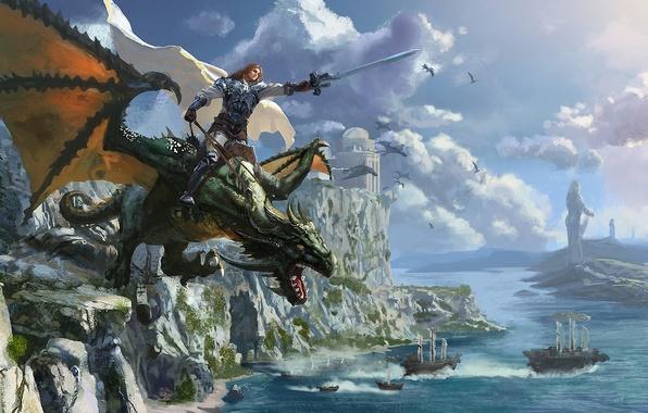 Картинка море, замок, скалы, дракон, корабли, меч, воин, арт, всадник, плащ