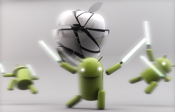 Картинка Apple, Android, Green, White, Silver, Lightsaber