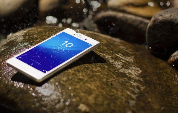 Картинка Android, Sony, Water, Aqua, White, Stone, Xperia, Drops, Smartphone