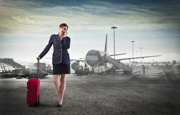 Картинка небо, женщина, юбка, телефон, аэропорт, пиджак, самолёт, звонок, саквояж