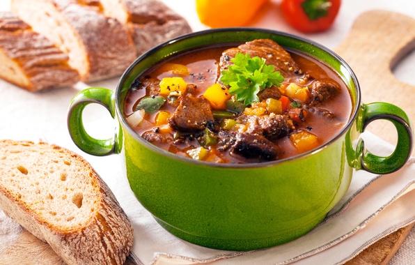 Картинка хлеб, суп, мясо, овощи, bread, soup, meat
