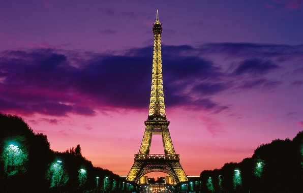 Картинка Париж, освещение, Эйфелева башня