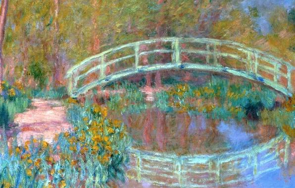 Фото обои пейзаж, пруд, отражение, картина, Клод Моне, Японский Мостик