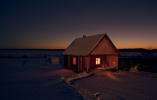 Картинка зима, поле, снег, ночь, природа, дом, темнота, обои, сауна, мороз, wallpaper, россия, баня, тропинка, свет …