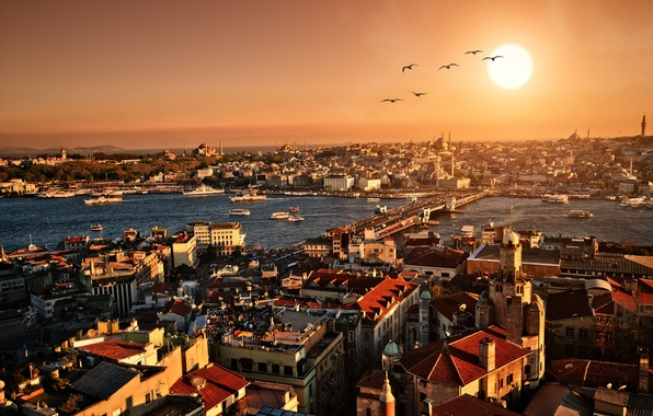Картинка закат, city, город, здания, вечер, панорама, архитектура, Стамбул, scenery, Istanbul, Turkey