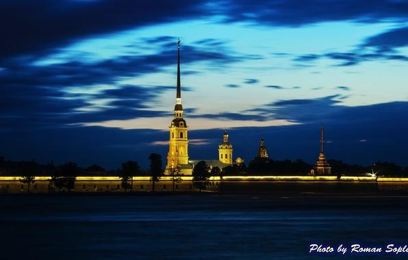 Фото обои ночь, река, Петропавловская крепость, санкт-петербург