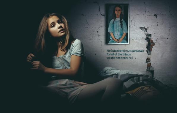 Картинка девушка, стена, надпись, рисунок, Alice