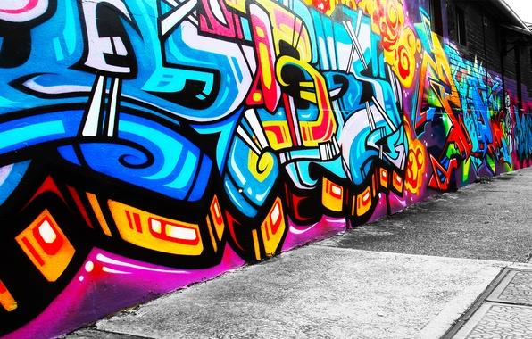 Картинка стиль, стена, узоры, краски, рисунок, colors, wall, graffiti, style, patterns, 1920x1080, picture