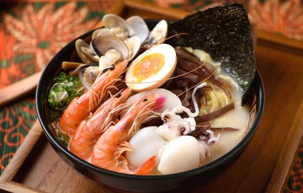 Фото обои морепродукты, кальмары, яйцо, креветки, моллюски
