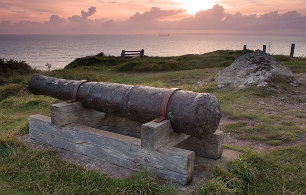 Картинка море, трава, старина, металл, ствол, пушка