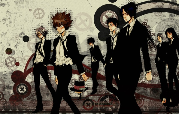 Картинка арт, ламбо, art, персонажи, sawada tsunayoshi, савада тсунаёши, katekyo hitman reborn!, учитель-мафиози реборн!, гокудэра, семья …