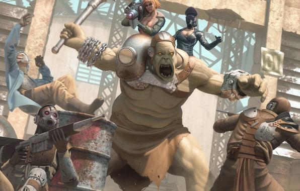 Картинка девушка, фантастика, маска, противогаз, гигант, битва, fallout, арена, базука, мутант, fan art, super mutant, raiders