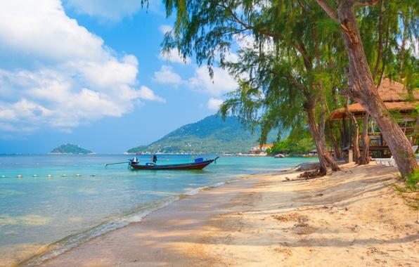 Картинка песок, море, небо, облака, деревья, пейзаж, природа, лодки, Таиланд, красивая, тропический, sky, trees, sea, landscape, …