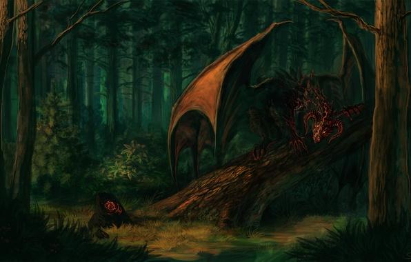 Картинка лес, взгляд, деревья, фантастика, камень, крылья, демон, арт, рога