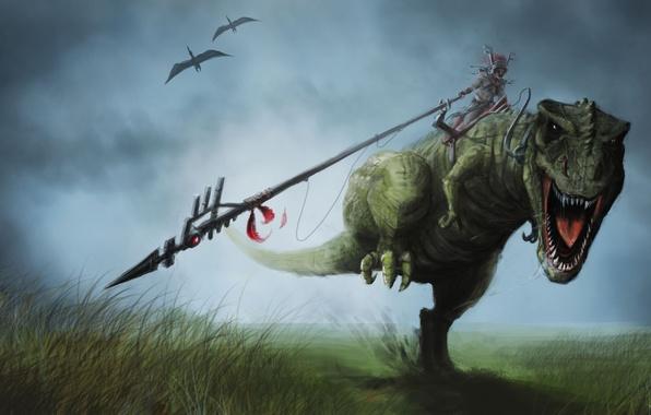 Картинка трава, движение, человек, динозавр, арт, бег, наездник, копье, птеродактиль, верхом, абориген, T-rex, рэкс