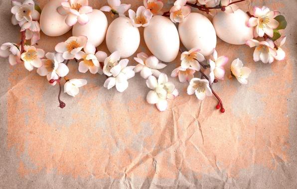 Картинка цветы, ветки, бумага, праздник, яйца, весна, Пасха, винтаж, Easter