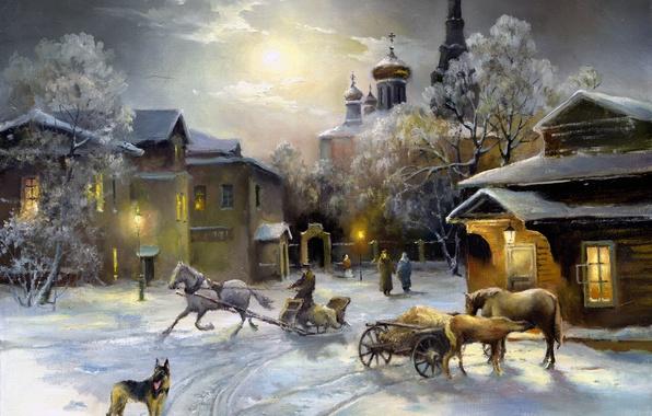 Картинка небо, свет, снег, окна, собака, лошади, церковь, живопись, овчарка, зима. дома
