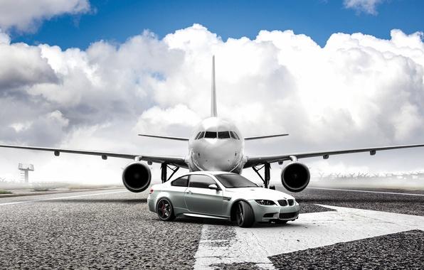 Картинка самолет, bmw, бмв, серебристый, plane, e92, silvery