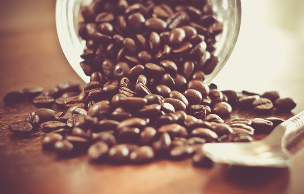 Картинка бодрость, стол, кофе, зерна, ритуал, ложка, банка, напиток, коричневый, аромат, заряд, coffee