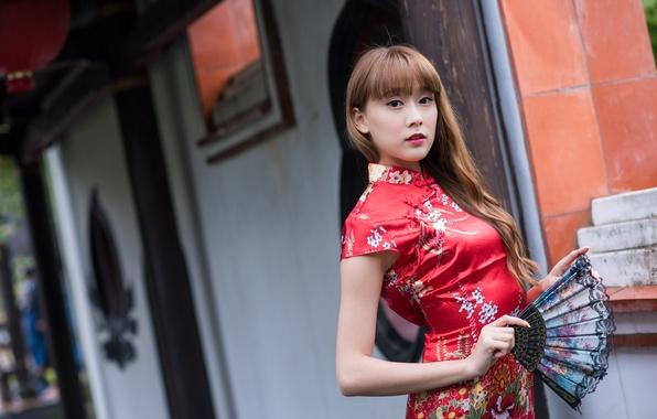 Картинка взгляд, лицо, фон, волосы, платье, веер, азиатка, милашка