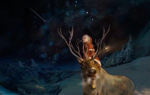 Картинка зима, ночь, эмоции, мальчик, олень, арт, костюм, фонарь, звездное небо