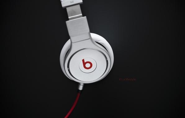 Картинка музыка, надпись, music, наушники, лого, провод, logo, слова, headphones, 1920x1200, words, бренд, brand, lettering, beats …