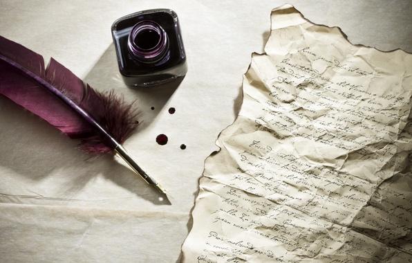 Картинка письмо, стол, перо, чернила