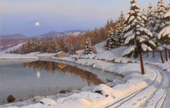 Картинка зима, дорога, лес, пейзаж, горы, ночь, озеро, дом, луна, елки, картина, Борис Бессонов