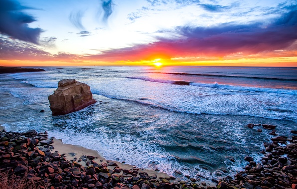 Картинка море, небо, облака, закат, скала, камни, сша, California, San Diego