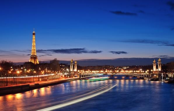 Картинка город, огни, река, Париж, вечер, франция