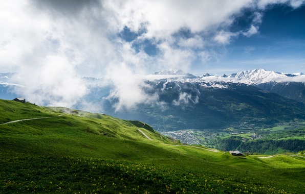Картинка трава, пейзаж, горы, природа, весна, landscape, mountain, spring