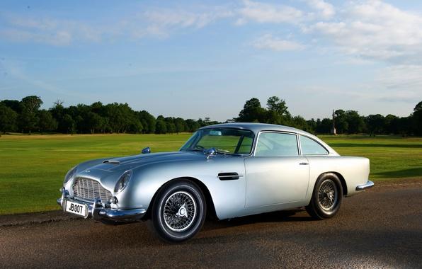 Картинка серый, Aston Martin, классика, 1964, DB5, автомобиль Джеймса Бонда